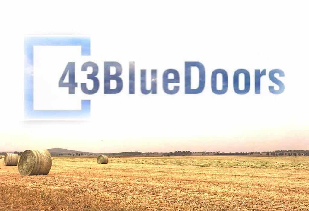 43BlueDoors logo above a field in Australia