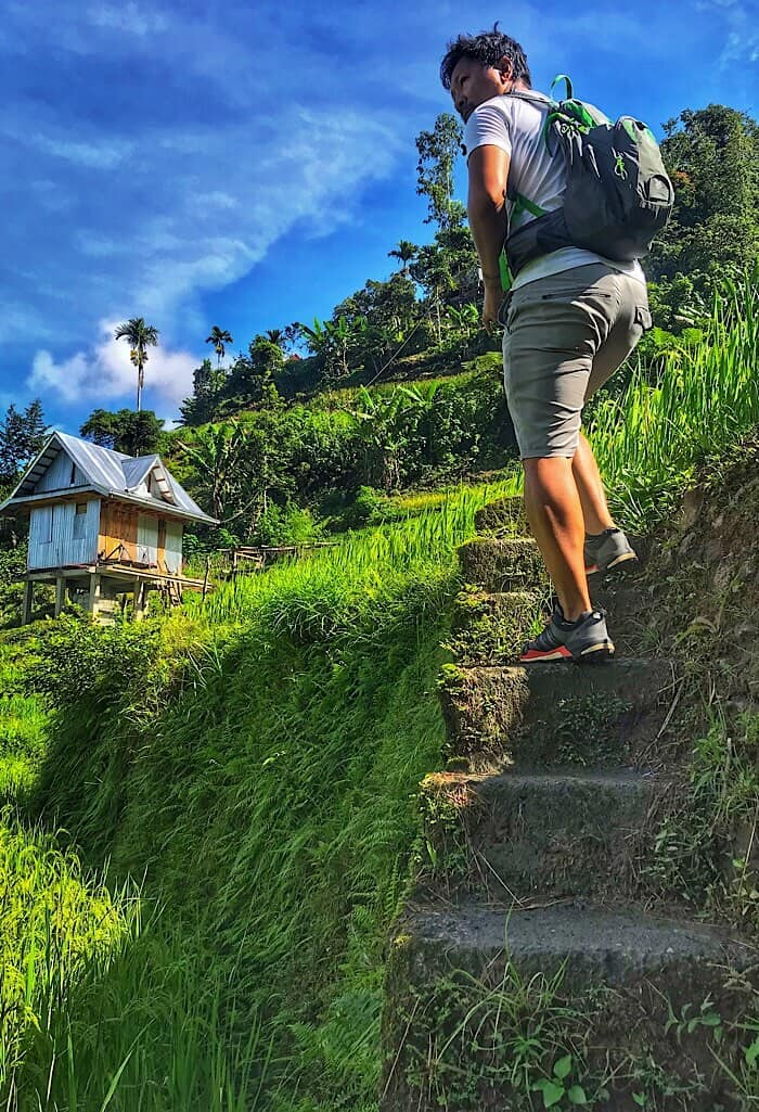 Stairs in the rice paddies in Banaue Philippines