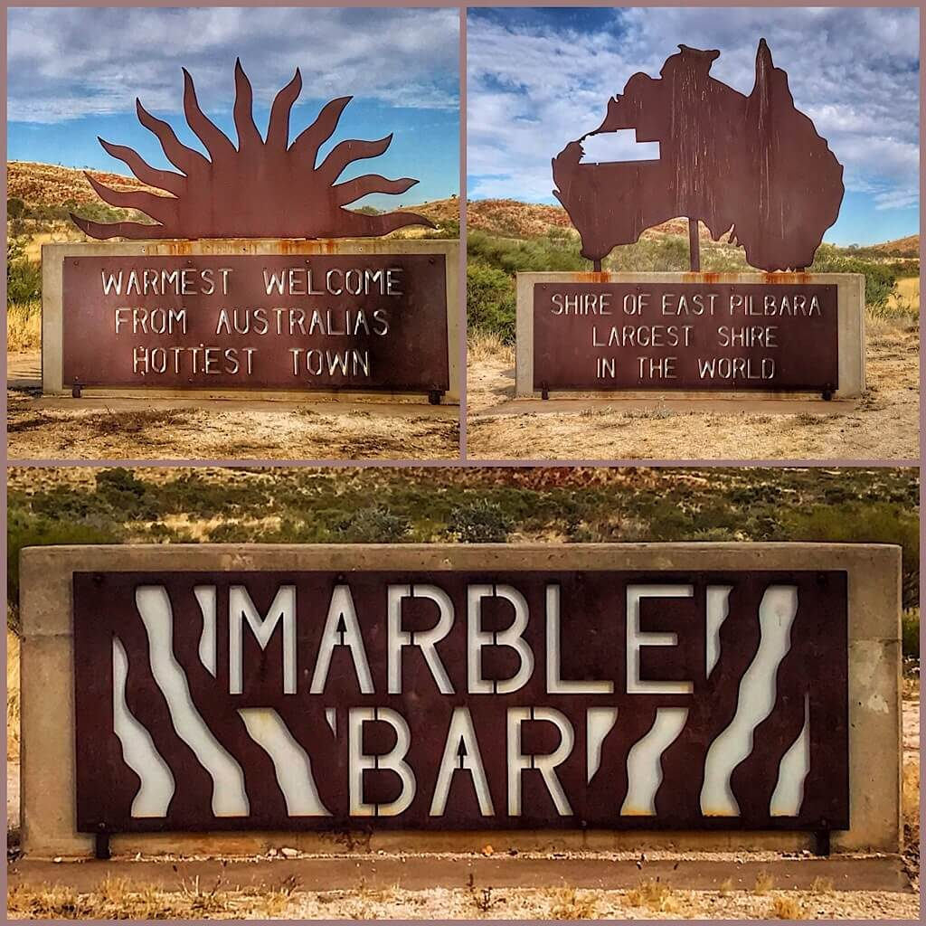 Signs entering Marble Bar