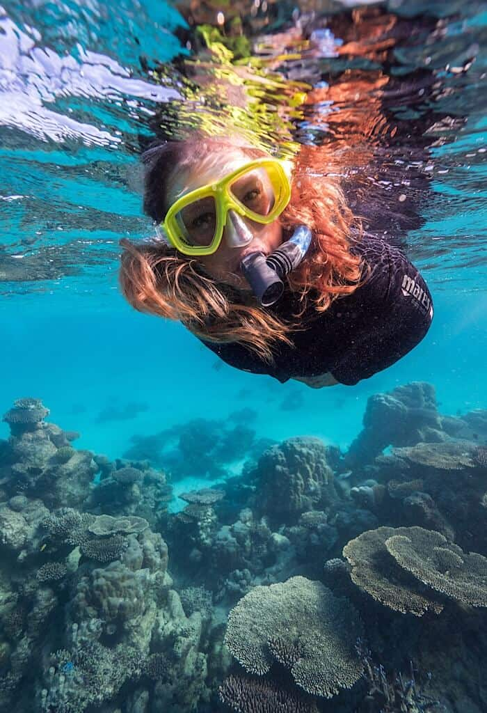 Bonnie snorkeling above the Ningaloo reef