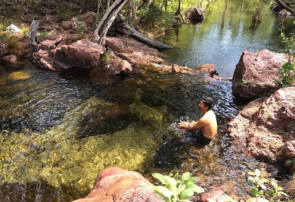 Trin sitting in Bambook creek