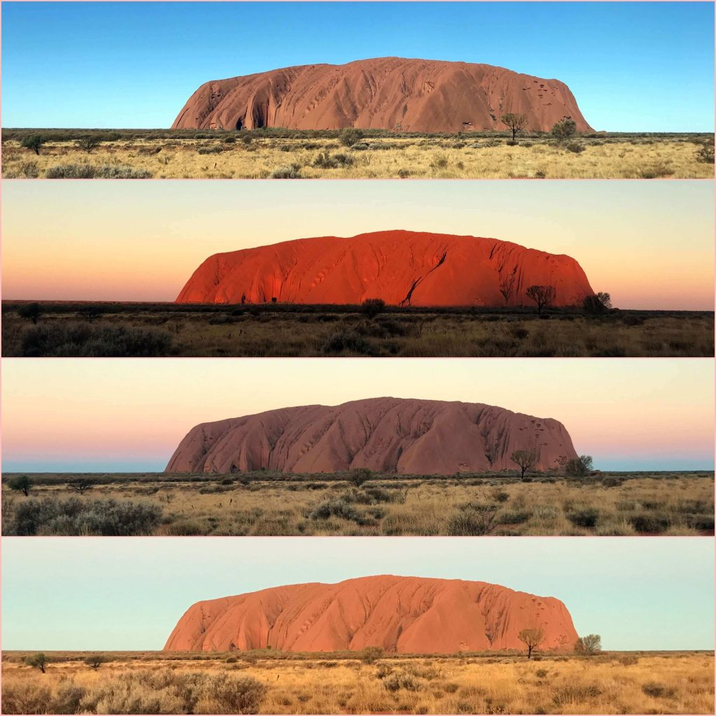 The colors of Uluru change as the sun sets. This is four pictures from the sunset viewing area taken at different times.