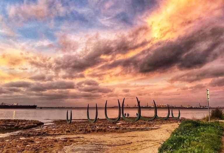 Whale bone monument at Captain Cook landing in Sydney Australia