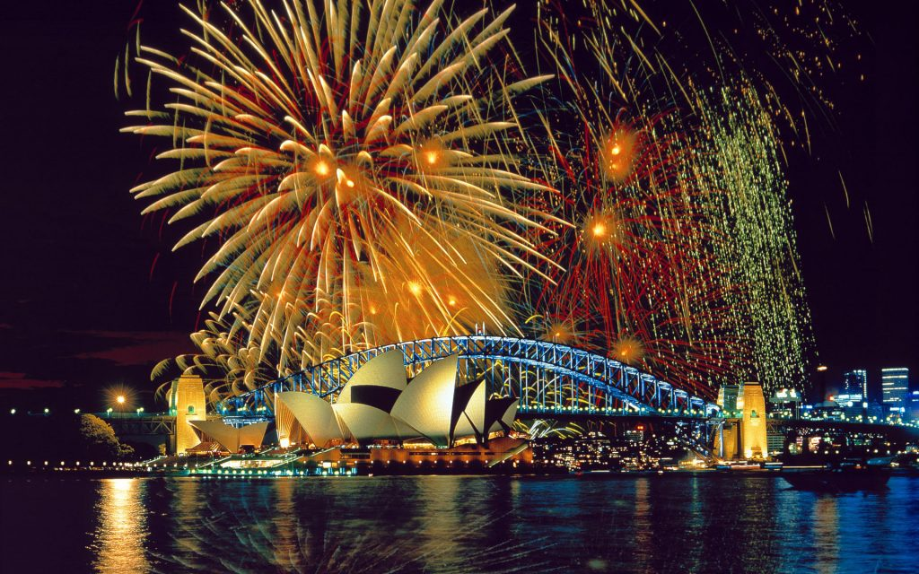 Fireworks in the Sydney Harbor by the Opera House