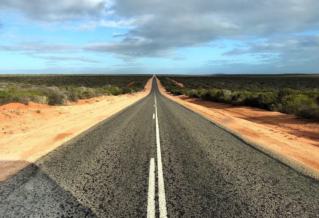 long straight road through Francois Peron National Park WA, Australia
