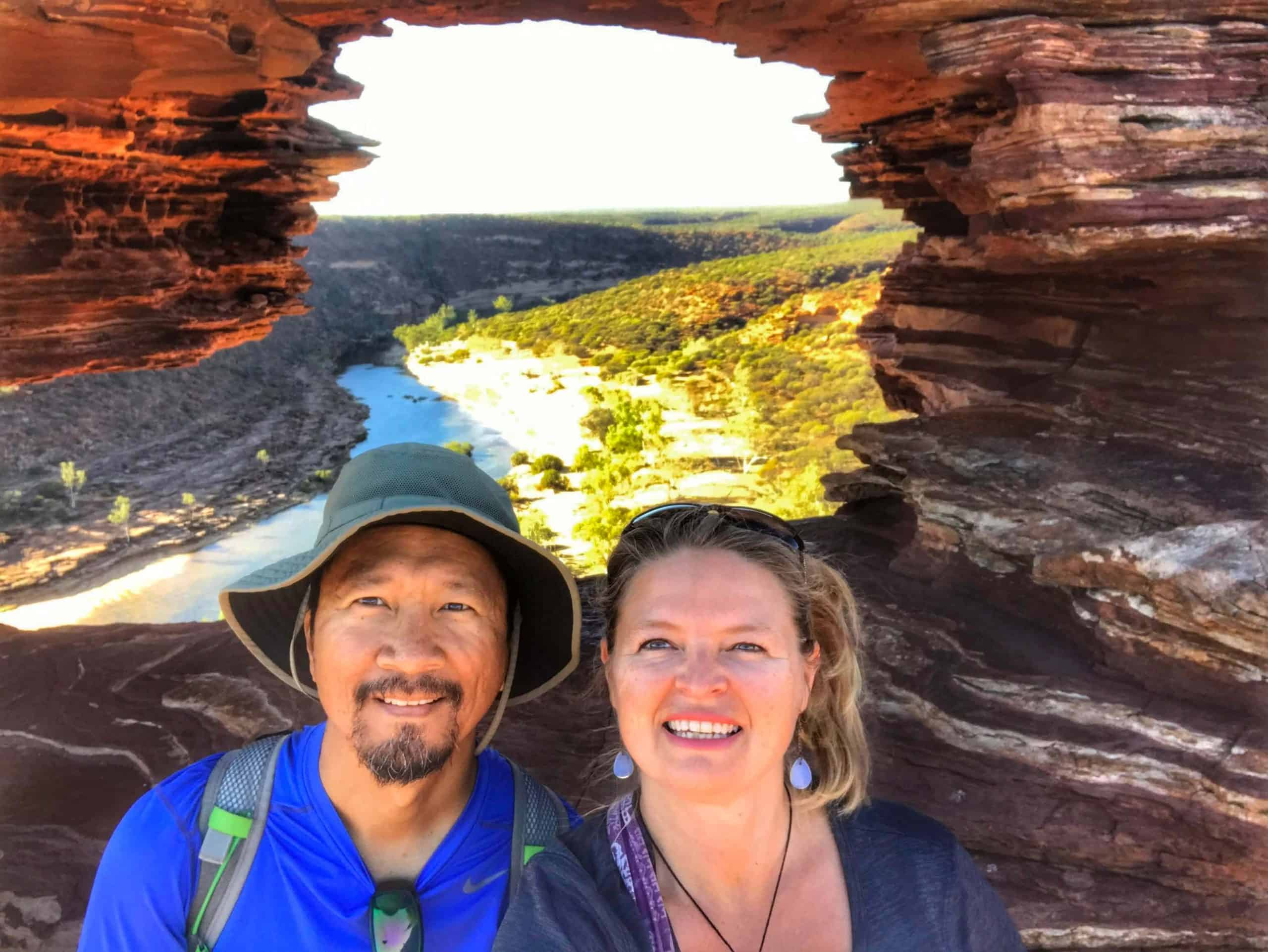 Trin & Bonnie in front of Natures Window in Kilbarri National Park, Western Australia