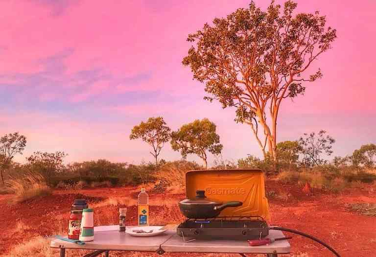 Campsite in the sunset of the Red Center Australia
