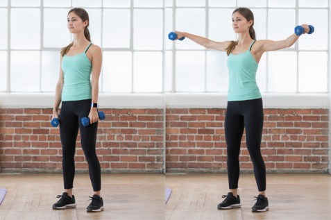 Dumbbell lateral raises are an easy way to tone your upper body.