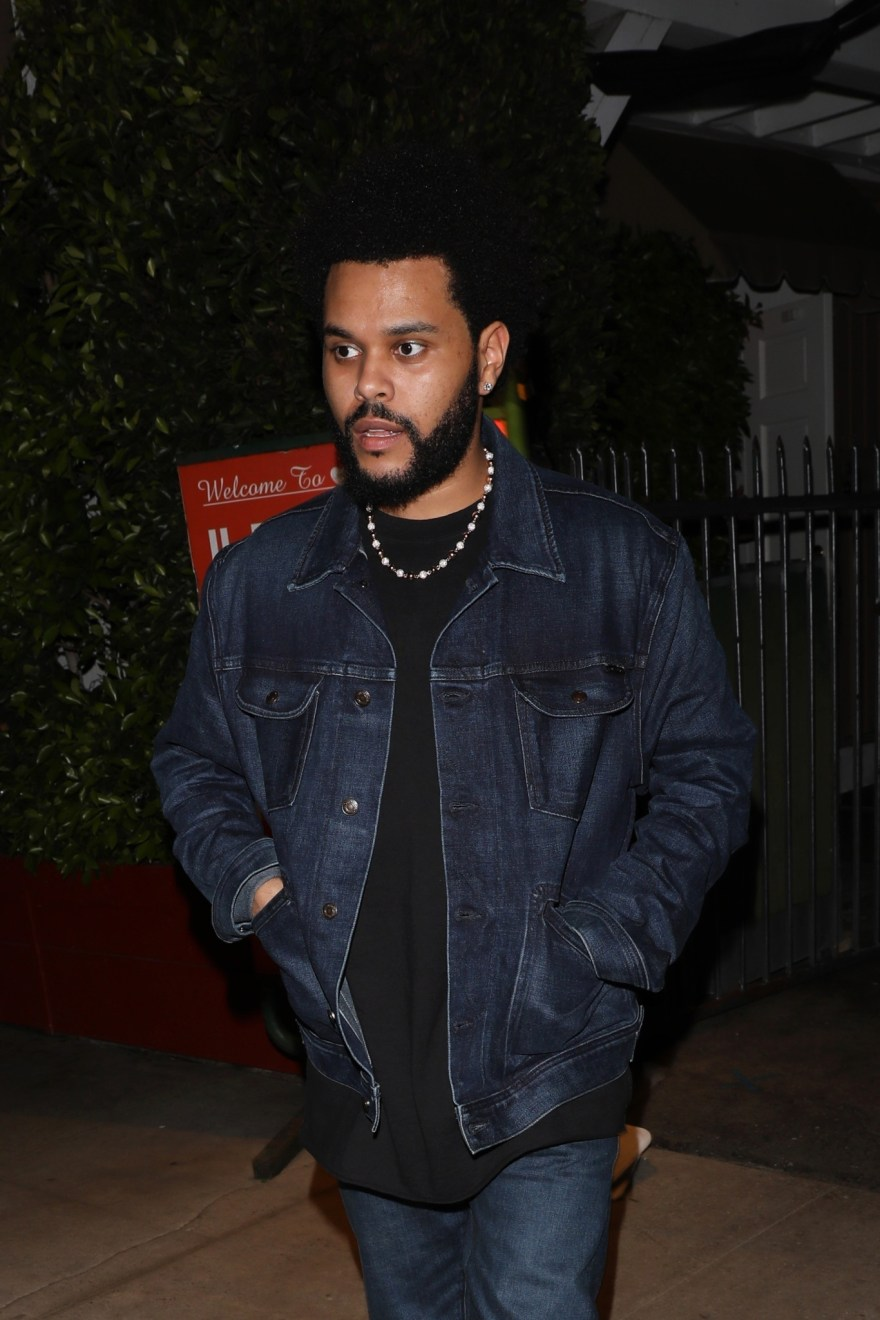 The Weeknd wore a denim look for his night out with Jolie. PHOTO CREDIT: BACKGRID