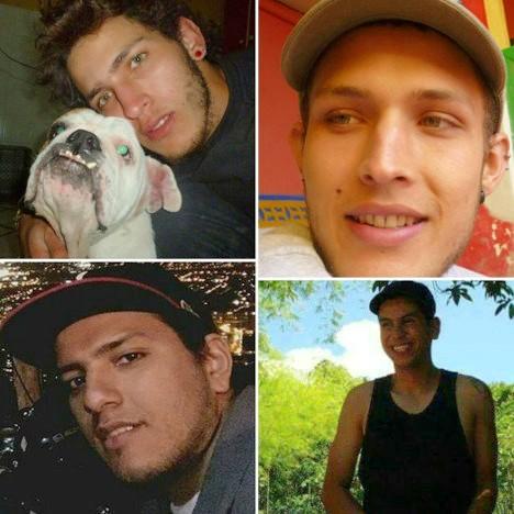 Alexis Casas Valencia, Cristian Camilo Peña, Juan Camilo Ángel y Santiago Ángel, estudiantes detenidos en Medellín.