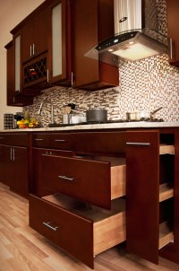 Villa Cherry Wood Kitchen Cabinets, Cherry Stained Maple ...