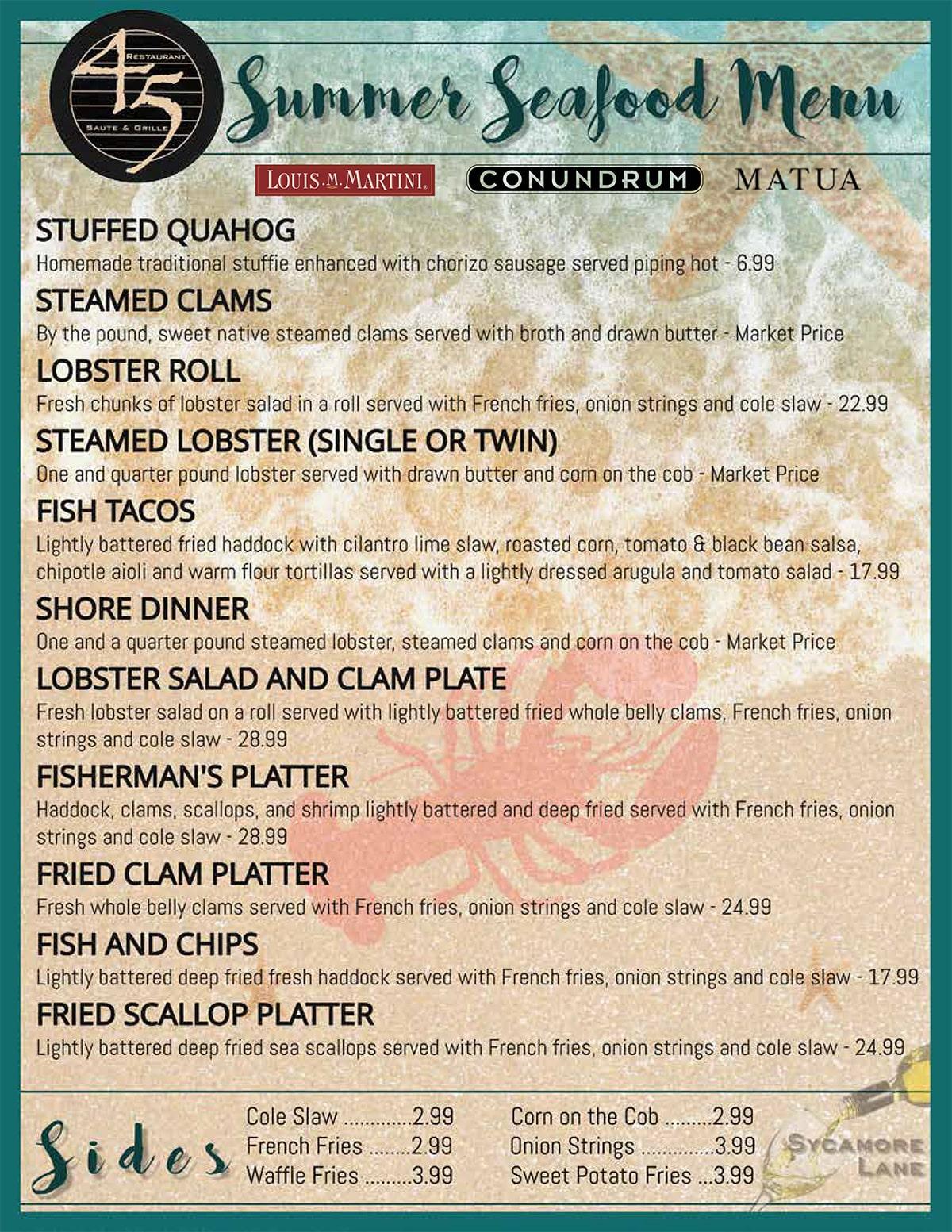 summer seafood menu restaurant
