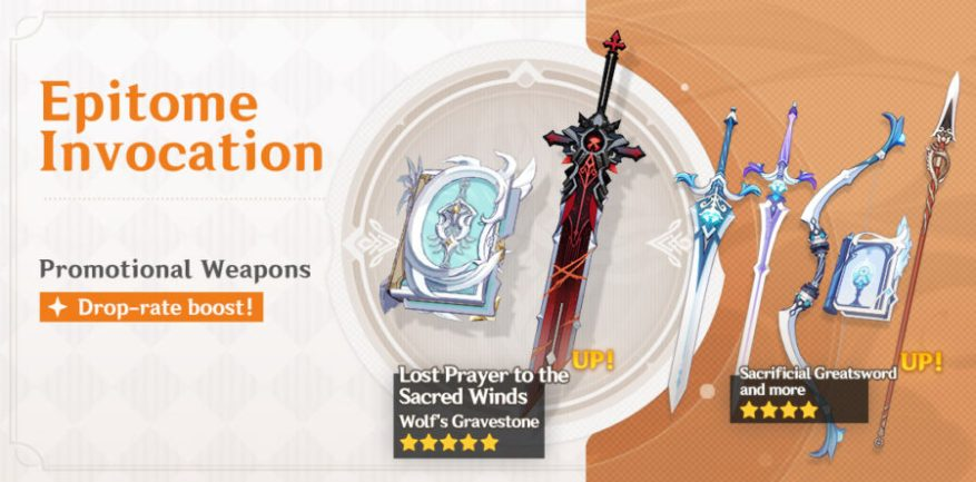 A photo of the new weapon event wish banner called Epitome Summon