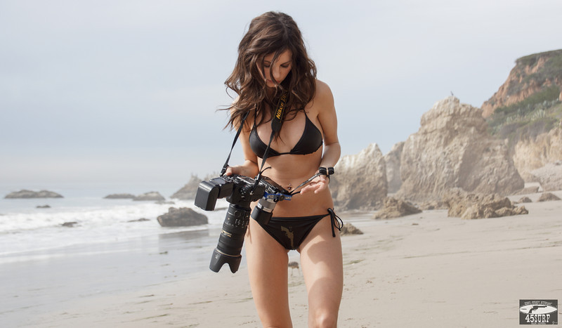 Brunette Swimsuit Bikini Model shooting Stills (Nikon D800) & Video (Sony NEX-6 F/1.8 50mm Prime)