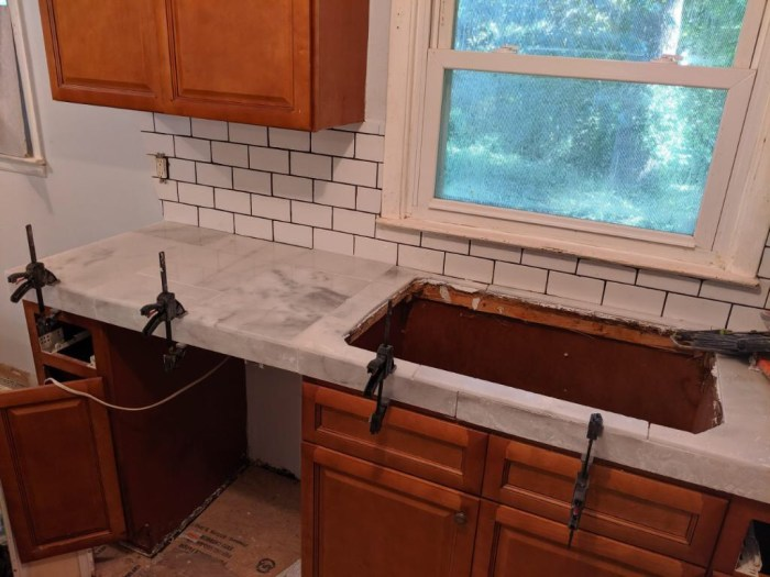 photo of kitchen counter being renovated