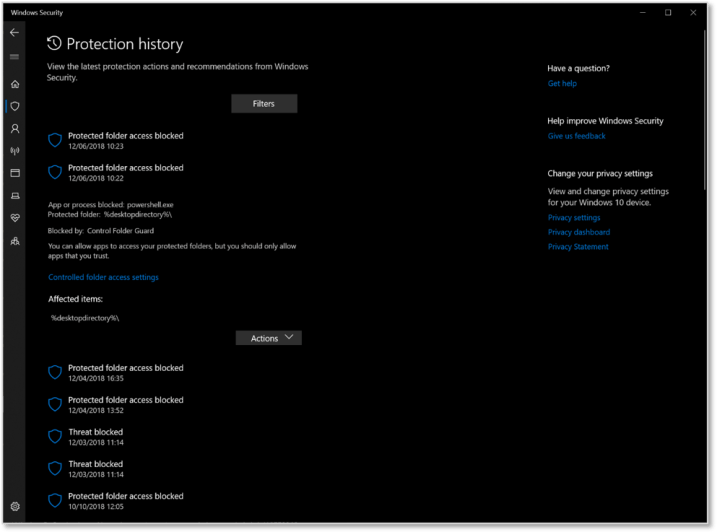 Revamped Protection history in the Windows Security app