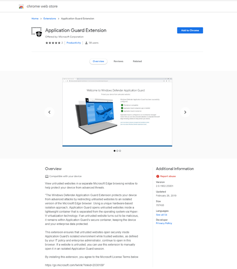 Windows Defender Application Guard extension on Chrome web store