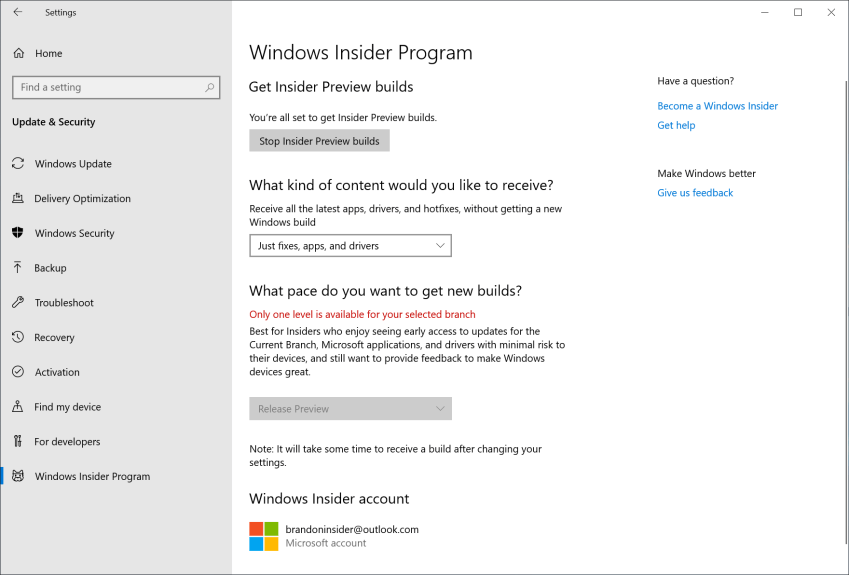 "After rebooting your PC, double-check your Windows Insider Program settings via Settings > Update & Security > Windows Insider Program and make sure it shows ""Release Preview"" under ""What pace do you want to get new builds?""."