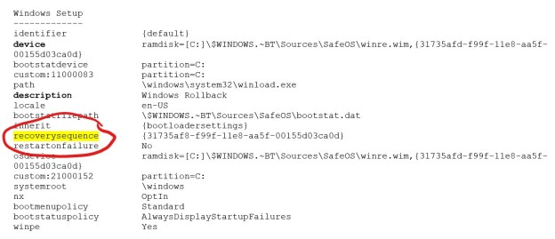 Showing the Windows setup section of the enum output. The recovery sequence listing is highlighted.