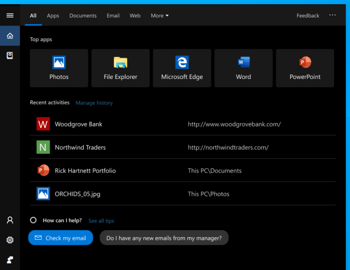 Showing Windows Search Home on the Windows 10 October 2018 update. Screen now shows search filters at the top, below which are Top apps and Recent activities.