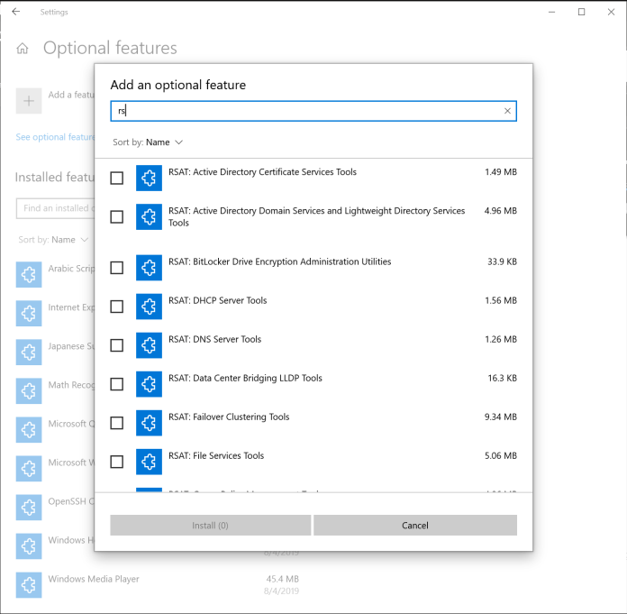 Showing the search box when adding a new optional feature.
