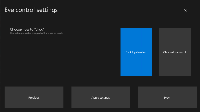 Updated Eye Control Settings that span multiple pages.