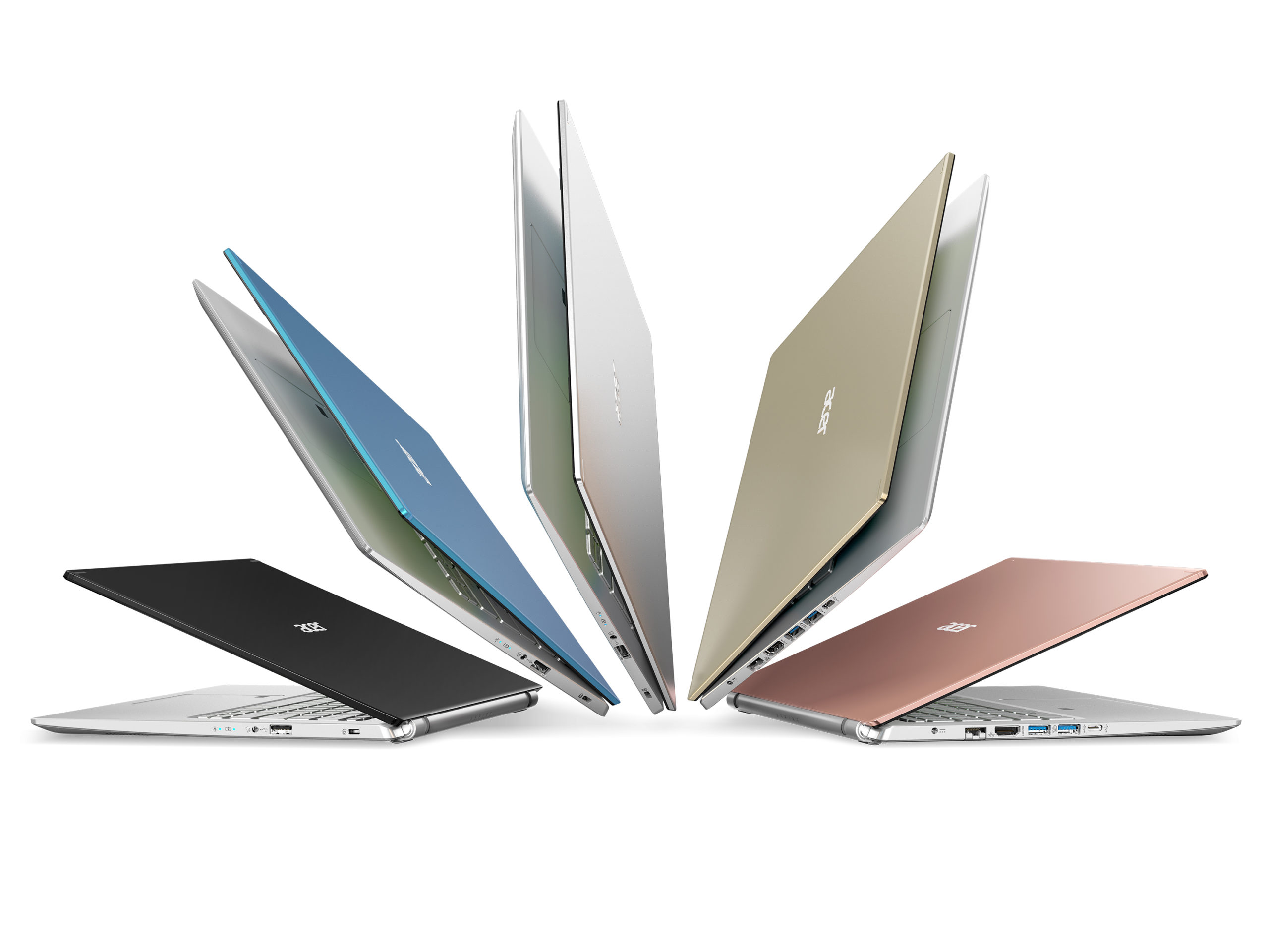 5 Acer Aspire 5 notebooks in various colors fanned out