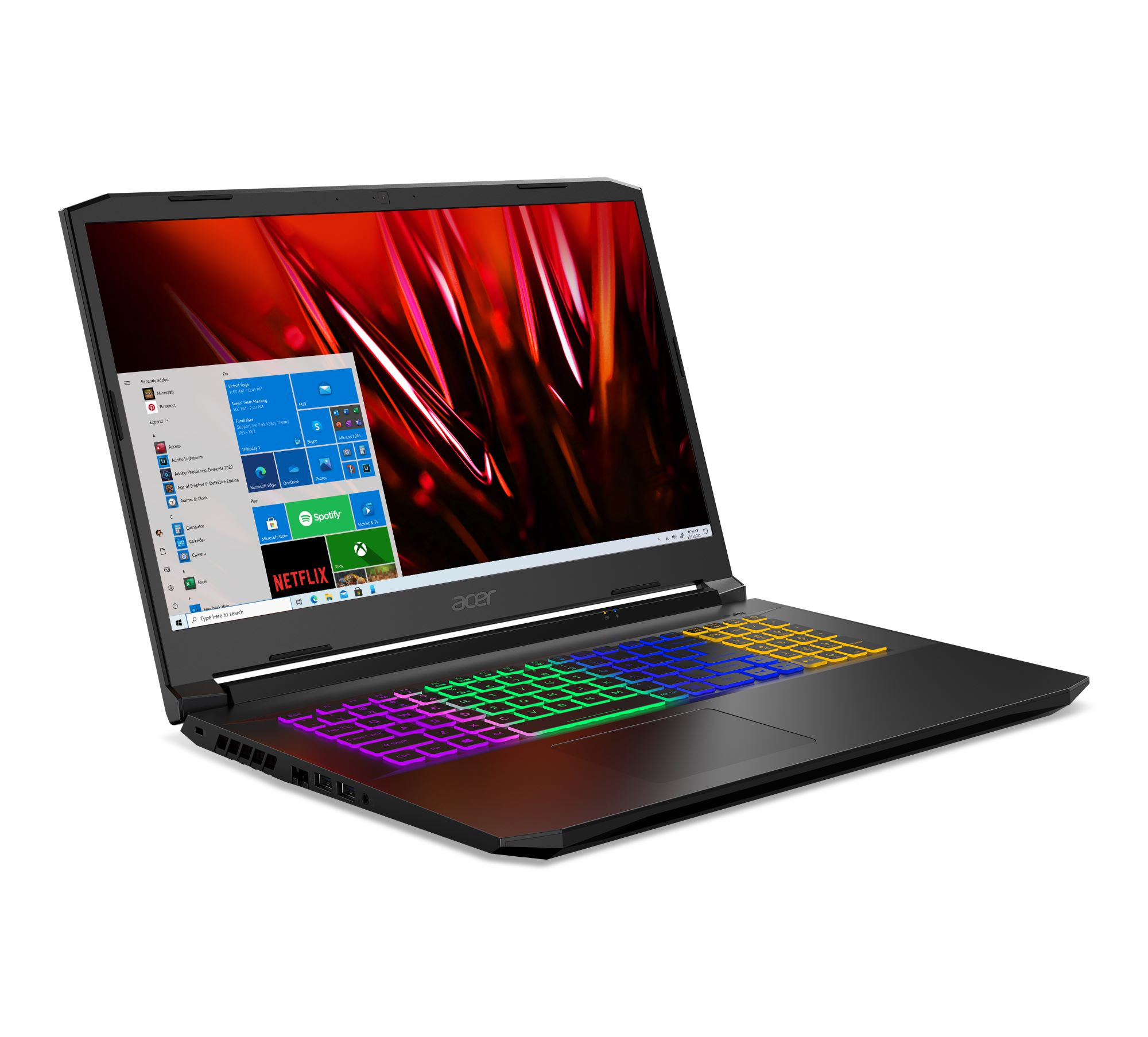 Acer Nitro5 open and facing right, showing colorful keyboard lit up