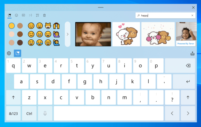 The redesigned touch keyboard offers quick access to emoji and animated GIFs so you and express yourself any way you like while typing in Windows.