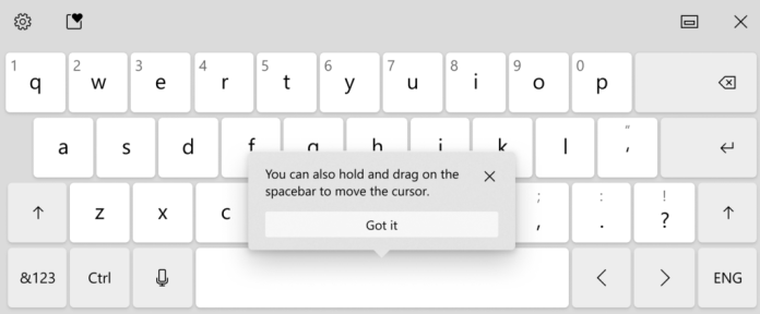 Press and hold on the space bar on the touch keyboard to move the cursor on your screen.
