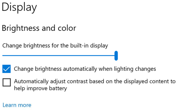 "Windows Insiders can now disable CABC directly in the Display settings via Settings ></div></figure><p>System > Display."" width=""442″ height=""274″ /></a></p> <p>Note: Depending on your device, you may see just one (or both) of the checkboxes seen under the brightness slider below. To find out if your device has CABC support, you can look at your GPU control panel.</p> <p><strong>HDR certification:</strong> To bring awareness to high quality HDR displays and educate customers, we are bringing HDR certification to <strong>Settings > System > Display</strong> under ""Advanced display settings"" with the latest Insider Preview builds. Under this settings page, a display's HDR certifications will be shown.</p> <p>We will be rolling out this feature over time and are starting with select Dolby Vision and VESA DisplayHDR models, so please don't be alarmed if in the Advanced display settings, you see that your display has no HDR certification even though it is certified.</p> <h3><strong>New Camera Settings page</strong></h3> <p>We are extremely excited to introduce a new Camera Settings page we've been working on, giving users the ability to add/remove cameras and configure the default image settings of each one.</p> <figure class="