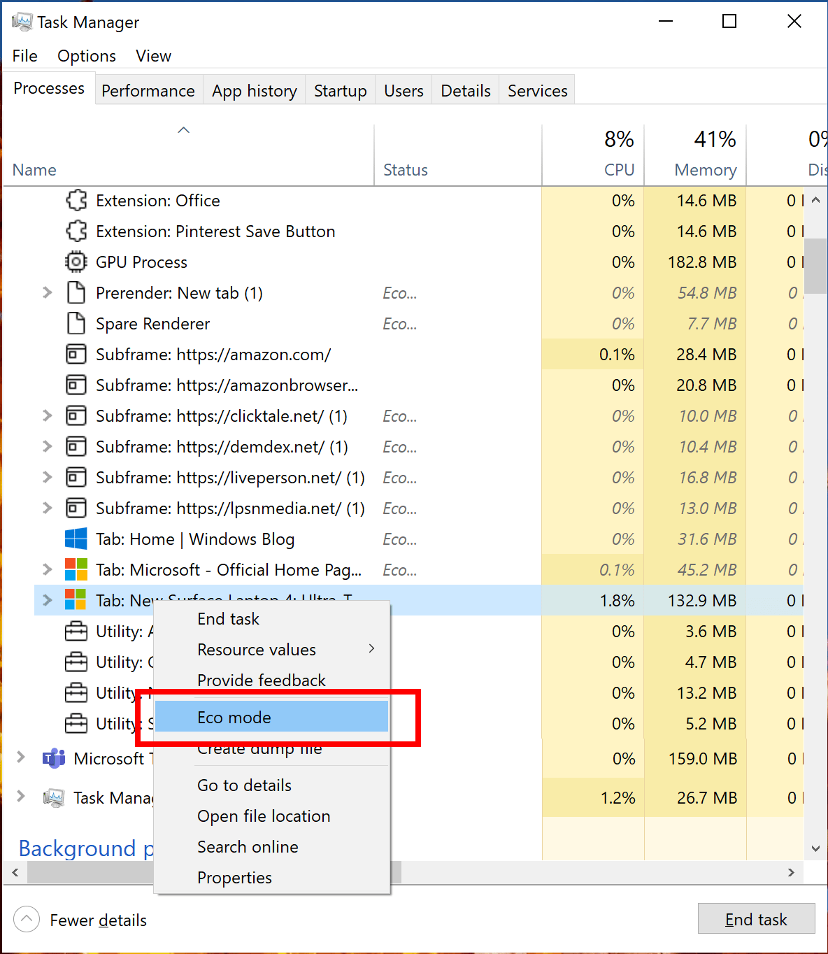 Right-click Eco mode in Task Manager