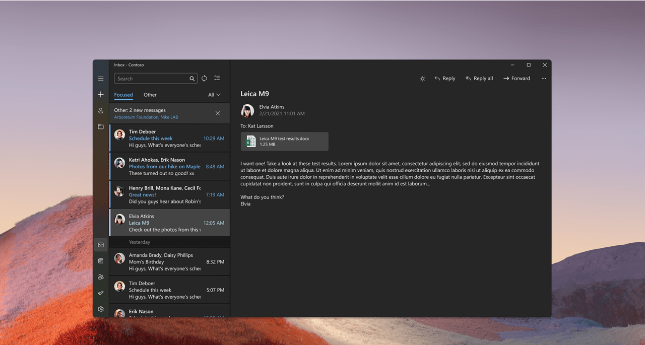 Mail app with new Windows 11 visuals in dark mode.