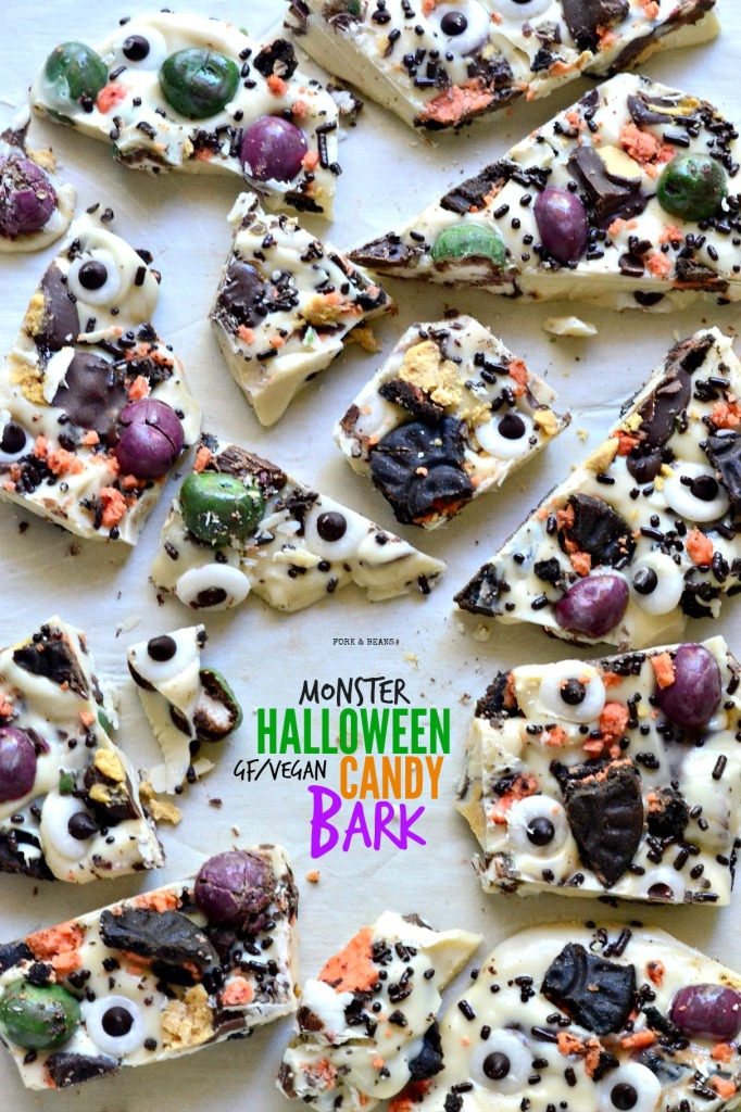 All your favorite vegan candy bars coated with vegan white chocolate to make this EASY Halloween Candy Bark.