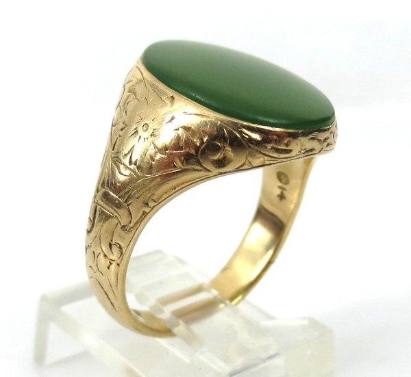 Antique Jade & Hand Carved 14k Yellow Gold Signet Ring