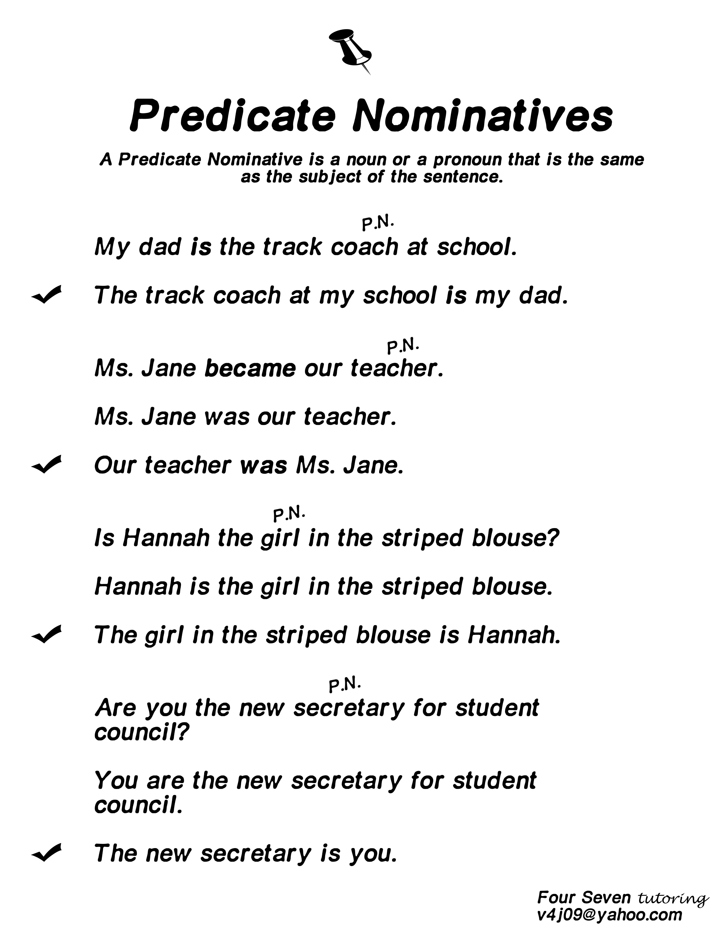 Predicate Nominatives Resource