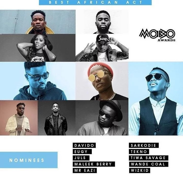 Wizkid, Davido, Tiwa Savage, Others Nominated For MOBO Awards [Full List]