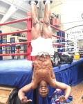 Anthony Joshua Shows His Incredible Physique As He Performs A Stunt During Training
