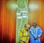 Check Out BBC Epic 'Lifeless' Caption For President Buhari And Theresa May's Photo