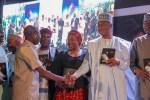 Photo: Saraki And Oshiomole All Smiles And Shaking Hands At Goodluck Jonathan's Book Launch