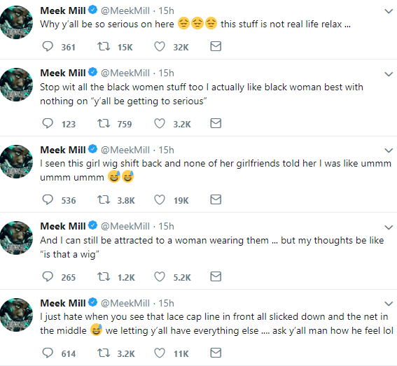 Meek Mill explains why he hates lace wigs after he got called out for criticizing women who wear them