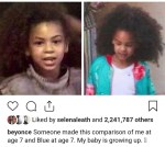 Beyonce Shares Side-By-Side Photo of Herself And Blue Ivy At Age 7