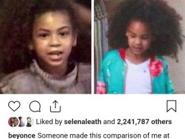 Beyonce shares side-by-side photo of herself and Blue Ivy at age 7 and they almost look like twins