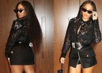 Beyonce in Stylish Black Lace Top And Skimpy Mini Skirt [Photos]