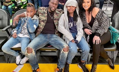Kevin Hart enjoys quality time with his family as they sit courtside at star-studded Lakers game (Photos)