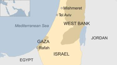 Map showing Israel and Gaza