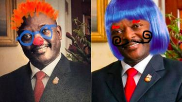 A composite image showing two portraits of Burundi's President Nkurunziza that have been doodled on by social media users.