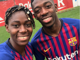 Super Falcons star Asisat Oshoala pictured with french footballer Ousmane Demb?l?