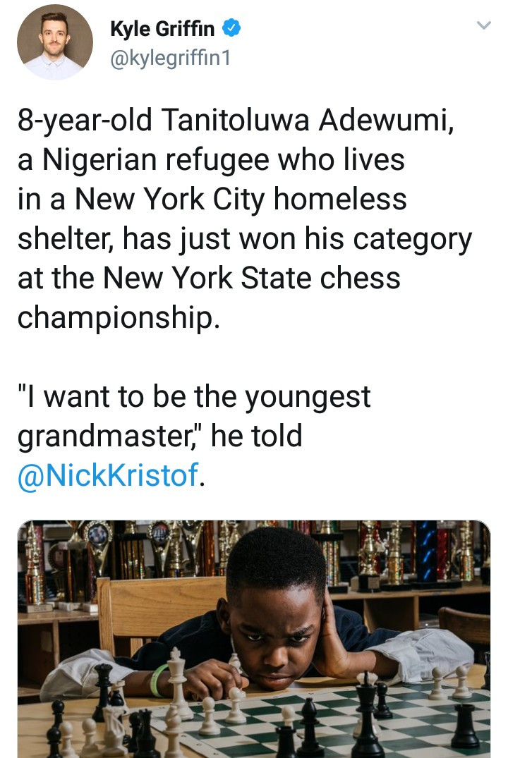 Bill Clinton invites 8year old Nigerian refugee who won a chess competition to his office