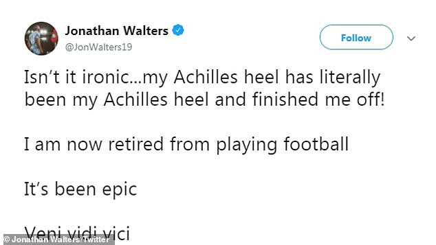 Former Stoke and Ireland football star, Jonathan Walters announces his retirement from football at 35 over injury?nightmare